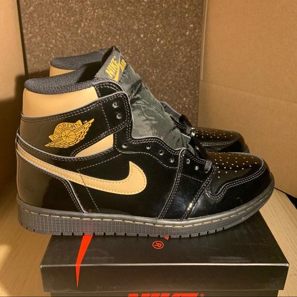 Nike Air Jordan 1 Black Gold Sz 9.5